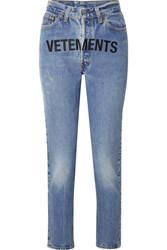 Vetements Levi's Printed Mid Rise Straight Leg Jeans Mid Denim Gbp
