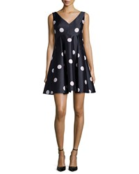 Kate Spade Sleeveless Polka Dot Fit And Flare Dress Women's Ink Multi
