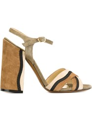 L'autre Chose Chunky High Heel Sandals Brown