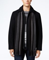 Calvin Klein Men's Wool Blend Coat With Removable Scarf Black