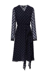 Anouki Ruffled Polka Dot Midi Dress Navy