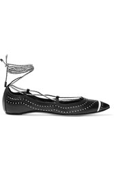 Daniele Michetti Cutout Leather Ballet Flats Black