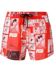 Iceberg Snoopy Print Swimming Shorts Red