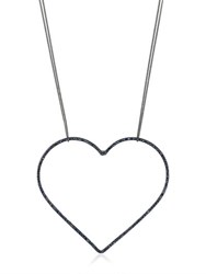 Seeme Sapphires Heart And Long Chain Necklace