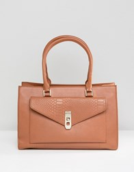 Paul Costelloe Real Leather Tan Tote With Snake Embossed Pocket