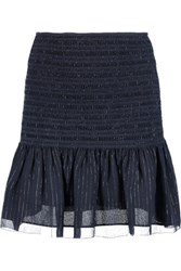 Derek Lam 10 Crosby By Metallic Shirred Silk Blend Chiffon Mini Skirt Midnight Blue