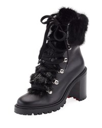 Christian Louboutin Fanny Leather Fur Trim Red Sole Combat Boot Black