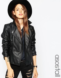 Asos Tall Ultimate Biker Jacket With Stitch Detail Black