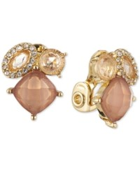 Anne Klein Gold Tone Crystal Cluster Clip On Stud Earrings