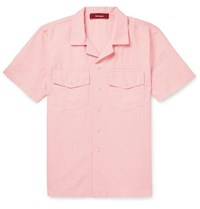Sies Marjan Dean Camp Collar Cotton And Silk Blend Twill Shirt Pink