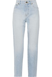 Saint Laurent Distressed High Rise Straight Leg Jeans Light Denim
