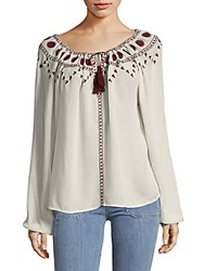 The Kooples Embroidered Drawstring Top White