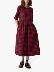 Toast Gingham Pleat Dress Red Navy