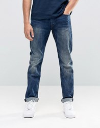 Only And Sons Vintage Wash Regular Fit Jeans With Stretch Mid Blue Denim