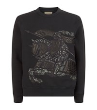 Burberry Equestrian Knight Device Cotton Blend Sweatshirt Male Midnight