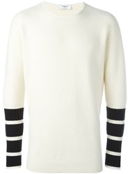 Ports 1961 Striped Sleeves Jumper White