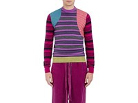 Loewe Men's Mixed Stripe Wool Blend Patchwork Sweater Purple