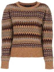 Marc Jacobs Fair Isle Puff Sleeve Sweater Acrylic Nylon Mohair Alpaca S Brown