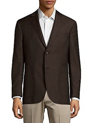 Michael Bastian Windowpane Wool Blazer Brown Plaid