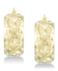 Signature Gold Diamond Accent Patterned Hoop Earrings In 14K Over Resin Yellow Gold