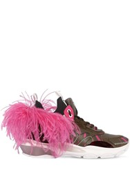 Valentino Garavani Bounce Leather Sneakers W Feather Green Pink