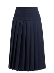 Alessandra Rich High Rise Pleated Wool Crepe Skirt Navy