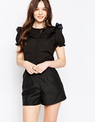 Jasmine Blouse With Ruffle Top Black