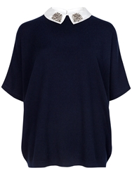 Ted Baker Cashmere Easy Sweater With Embellished Collar Blue