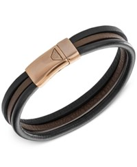 Armani Exchange Emporio Men's Leather Logo Bracelet Egs2216200 Black Brown