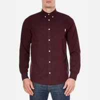 Carhartt Men's Long Sleeve Dalton Shirt Chianti Navy Burgundy