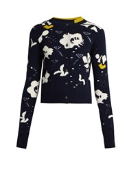 Barrie Moonflowers Intarsia Knit Cashmere Cardigan Navy Multi