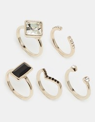 Oasis Deco And Pave Multi Stacking Rings Gold