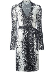 Diane Von Furstenberg Splatter Print Wrap Dress Black