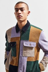 Urban Outfitters Uo Ryder Blocked Corduroy Zip Shirt Assorted