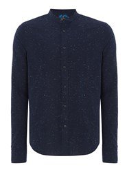 Scotch And Soda Men's Crispy Cotton Grandad Shirt Midnight Blue