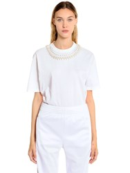 Givenchy Embellished Cotton Jersey T Shirt White