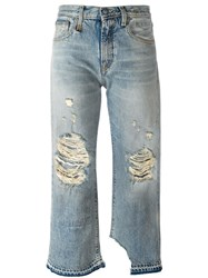 R 13 R13 Distressed Straight Leg Jeans Blue