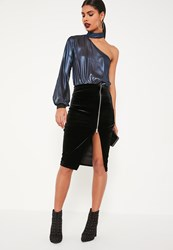 Missguided Black Velvet Zip Through Midi Skirt