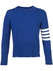Thom Browne Short Crewneck Pullover With 4 Bar Stripe In Blue Cashmere Cashmere
