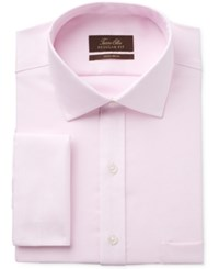 Tasso Elba Men's Classic Regular Fit Non Iron Pink Sateen Check French Cuff Dress Shirt Only At Macy's