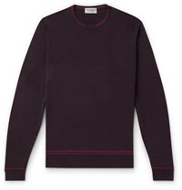 John Smedley Contrast Tipped Merino Wool Sweater Purple