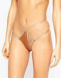 Asos Selina Satin Strappy Thong Gold