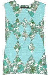 Thakoon Printed Scuba Jersey And Mesh Top Turquoise