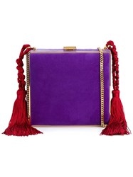 Alessandra Rich Tasselled Square Clutch Pink And Purple