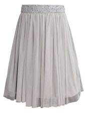 Lace And Beads Picasso Aline Skirt Light Grey