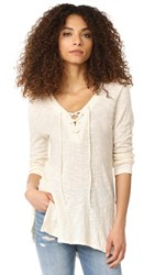 Sol Angeles Tie Neck Deep V Tunic Natural
