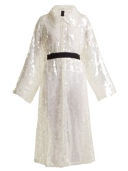 Norma Kamali Belted Sequin Embellished Trench Coat White