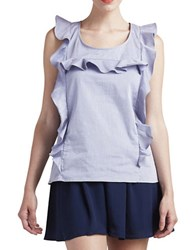 Paper Crown Ruffled Chambray Top