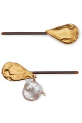 Alighieri Set Of Two Gold Plated Pearl Hair Slides One Size