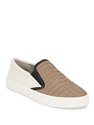 Vince Banler Crocodile Embossed Leather Slip On Sneakers Nude Bone